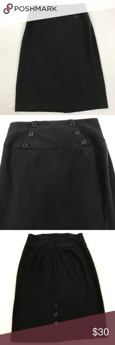 GRACE ELEMENTS Black Skirt Button Embellishment GRACE ELEMENTS Black Skirt Button Embellishment Women's Size 6 Office Career   Gently Worn - HA18  Measurements (FLAT LAY in inches) Waist: 15 Full Length: 25  Please see photos for detail. Grace Elements Skirts Pencil