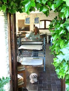 Maureen Booth in her Granada printmaking studio with her good friend, Cuca Artist Studios, Dream Studio, Work Spaces, Study Tips, 15 Years, Offices, Habitats, Printmaking, Watercolour
