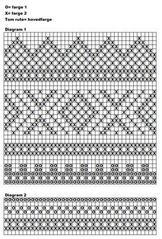 Bilderesultater for diagram mariusmønster Fair Isle Knitting Patterns, Knitting Charts, Tapestry Crochet, Knit Crochet, Fair Isle Chart, Hand Warmers, Mittens, Ravelry, Knitted Hats