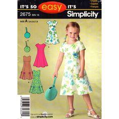 Girls Flared Empire Dress Pattern Simplicity 2675 Princess Seams Round Bag Size 3 to 8 UNCUT