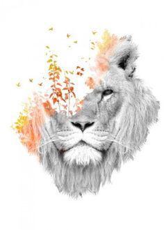 lion nature surreal photo manipulation double exposure cat dream fantasy watercolor light forest