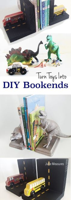 DIY Kids Toy Bookends - Julie Measures Don't throw away old toys! Use them to make DIY Bookends. When your son or daughter is finished with a sentimental favorite you can give it new life as toy bookends for their bedroom. Fun Projects For Kids, Fun Crafts For Kids, Diy For Kids, Simple Crafts, Diy Projects, Kids Fun, Diy Old Toys, Marsala, Diy Kids Furniture
