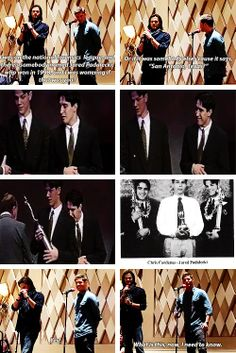 """(gif set) """"I was on the national forensics league, and there's somebody named Jared Padalecki, who won in 1998, and I was wondering if that was you?"""" 