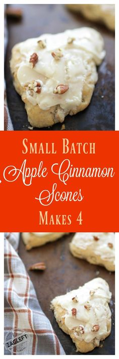 Buttery Apple Cinnamon Scones filled with toasted pecans and topped with a sweet maple glaze. This small batch recipe makes 4 delicate scones, perfect to enjoy with coffee or tea. | ZagLeft
