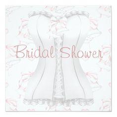 White Corset Pink Wedding Bells Bridal Shower Inv Card