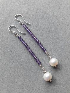 Long Modern Sterling Silver Wire Wrapped Amethyst & Pearl Beaded Earrings, February  Birthstone Jewellery Shops, Silver Jewellery, Silver For Jewelry Making, Glass Jewelry, Silver Bracelets, Pearl Jewelry, Gemstone Jewelry, Jewelry Gifts, Jewelery