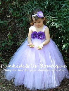 Lavender and Lilac Flower girl Full length Dress- lavender Tutu Dress, birthday,wedding and special occasion