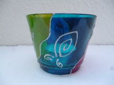 Hand painted glass candle holder 6 Euros, free delivery www.elseclectica.com