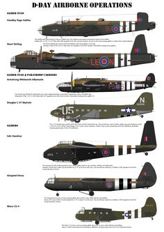 D-Day Airborne Forces Aircraft This poster shows the main aircraft involved with the airborne element of D-Day. These are the Handley Page Halifax, Short Stirling, Armstrong whitworth Albemarle, Douglas Skytrain / Dakota, GAL.