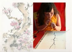 Ancient Chinese scrolls are vertical paper rolls where the artists painted landscapes, gardens or flowers. Today we will make our own with a very fun an creative technique using an eyedropper, ink and a straw.