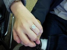 Here is my client wearing her new bling holding her fiancées hand. Another happy couple! www.samuelkleinberg.com