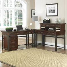 """Home Styles Cabin Creek Corner """"L"""" Desk & Mobile File, Brown"""