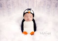 Poppy Penguin Hat and Snuggle Sack Knitting Pattern! New design. Baby sizes Newborn, 0-3 Months, 3-6 Month, and 6-12 Month included in hat and sack. Toddler 1-3 Years and Child 3-10 Years included in hat.