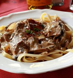 Recipe for Best Slow Cooker Beef Stroganoff - I made this using stew meat. It turned out great. Good Fall meal.