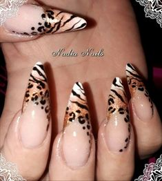 Animal Print French Nails by Nadia Nails repost nails nailart animal leopard zebra french French Nails, Nailart French, Hot Nails, Pink Nails, Gorgeous Nails, Pretty Nails, Tiger Nails, Leopard Print Nails, Leopard Top