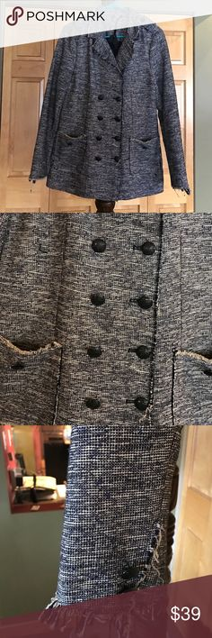 Tweed Style Double Breasted Jacket Really cute detailed double breasted Jacket with 2 front pockets and a slit in the back that hasn't been opened because it's never been worn. Black and cream in color. Also 2 buttoned lapels on top with buttoned detailing on bottom of sleeves. Notice one button is missing from the bottom right sleeve. Not too noticeable at all. Didn't even realize this until I got it home. Very cute with jeans or dress up with black slacks!! Black Swan Jackets & Coats
