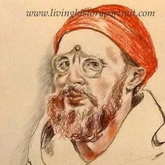 15th century reenactor wearing spectacles. Pencil and coloured chalks. By Living History Portraits.