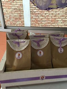 Pretty favor bags at a Princess Sofia birthday party! See more party planning ideas at CatchMyParty.com!
