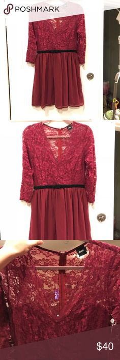 Maroon dress with black velvet bow Perfect for Valentines date night! Maroon ASOS dress with lace top, black velvet bow, and skirt. Never worn, perfect condition. Accepting offers! ASOS Dresses