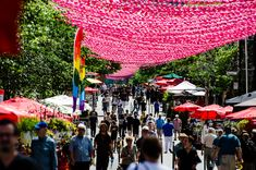 Montreal's Saint-Catherine Street Closed Off To Cars For Summer 2015 Stuff To Do, Things To Do, Catherine Street, Montreal Quebec, Summer 2015, Places To See, Gay, Projects, Pink