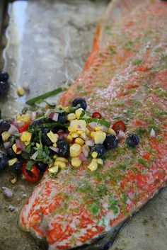 Chili and Lime Roasted Salmon with Blueberry Corn Salsa by Heather Christo, via Flickr
