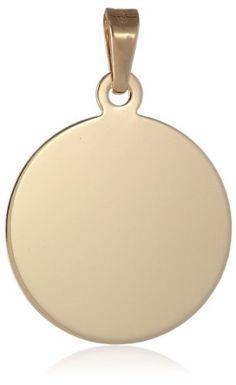 14k Yellow Gold Italian Round Disc Charm $120.22 #bestseller