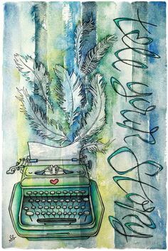 I SOOOOO want this! Love it! Image by sadeeschillingstudio on etsy: http://www.etsy.com/listing/80657102/vintage-typewriter-stripes-feathers