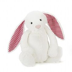 Jellycat Bashful Candy Stripe Bunny Huge,  a pure white bashful bunny with red stripy ears. Adorably gorgeous and festive! I love a cuddle, can you resist?