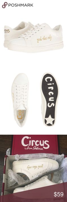 🚫On Hold for PFF🚫 Sam Edelman Good Vibes Only How cute are these kicks?! Brand new in box. Circus by Sam Edelman Good Vibes white sneakers. Non leather. White with gold writing. PLEASE NOTE: Size 7.5, but I think these run 1/2 size big. I bought these for myself and I am a 7.5, but they were too big. I ended up buying them in a size 7, and they are still a tad big but fit if I wear them with socks. ***No Trades*** Circus by Sam Edelman Shoes Sneakers