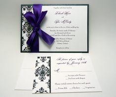 Purple Damask Wedding Invitation Sample  The by PinkOrchidInvites, $3.50