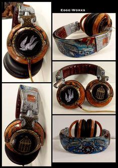 """Steampunk BioShock Infinite headphones""  Holy good god. I want these. So damn much."