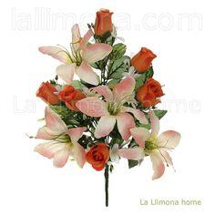 Ramo artificial flores liliums y rosas salmón 43