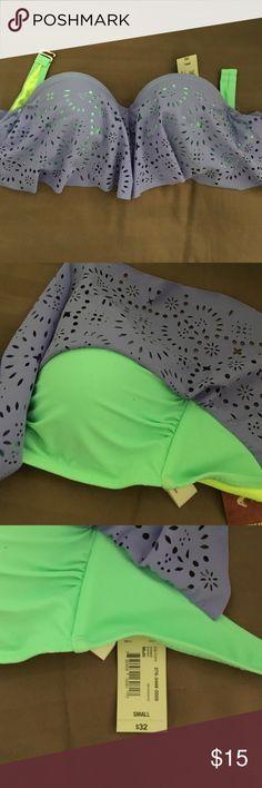 Bikini Top Green and purple strapless bikini top with tags still attached! Arizona Jean Company Swim Bikinis