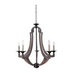 FREE SHIPPING. Purchase the Metal and Wood Winton Weathered Pine Chandelier for your dining room today at lightingconnection.com. Craftmade 355128-WP