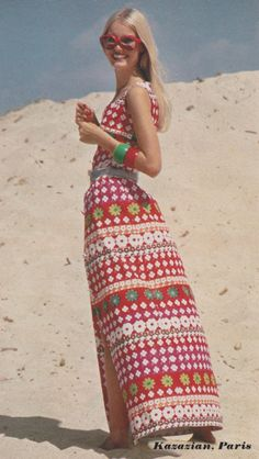 Kazazian dress & Givenchy sunglasses. Elegance, 1972. Photo by Helmut Newton
