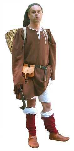 Garments like this were worn by European peasants between 1250 and The set consists of a woollen tunic, a shirt, braies (a medieval undergarment), sock Medieval Peasant, Medieval Costume, Medieval Dress, Medieval Fashion, Medieval Clothing, Peasant Clothing, Link Costume, Costumes, Canterbury Tales