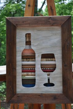 Wine Bottle with Glass Original Reclaimed Wall Art