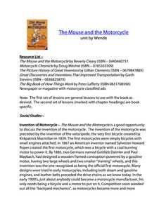 Mouse and the Motorcycle Free Unit Study