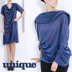 Pieza convertible en azul, espectacular transformación de vestido a top. #Uniquebcn by Rebeca Fueyo.   Convertible dress and top in blue by designer Rebeca Fueyo.   Shop at http://uniqueunique.es