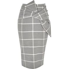 River Island Grey wide check bow front pencil skirt