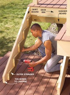 Attaching Deck Stringers To 2x8 Rim Joist - Carpentry - DIY Chatroom - DIY Home Improvement Forum ***Repinned by Normoe, the Backyard Guy (#1 backyardguy on Earth) Follow us on; http://twitter.com/backyardguy