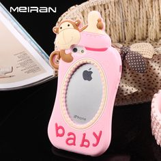 Silicone Phone Case 3D Lovely Monkey Baby Feeder Bottle Protective Back Cover Shell Funda Capa for iphone 6 6plus 6s 6splus