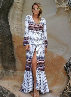 Cotton Floral Long Sleeve Maxi Sexy Dresses