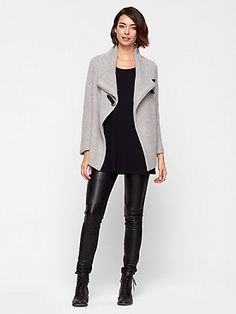 Soft cardigan, leather pants.  Awesome.