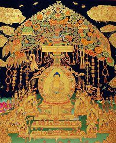 Buddha Amitabha and the paradise of Sukhavati (Tib. Dewachen)