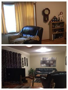 Before and after photos  Top photo is before; see drapes and clock on wall with book case and very large chair.  Bottom photo is after with new drapes, 3 pieces of metal art on left wall, medium size plan, large painting behind couch, throw pillows on couch and new area rug under coffee table.  There is a large clock on right wall that is just out of view.