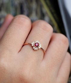 Ruby engagement ring rose gold vintage round cut Gypsy set flower Cluster antique Halo diamond wedding Jewelry Anniversary gift for her - beautiful wedding rings Gold Diamond Wedding Band, Rose Gold Engagement Ring, Engagement Ring Settings, Halo Diamond, Diamond Clarity, Ruby Wedding, Indian Engagement, Wedding Gold, Pear Diamond