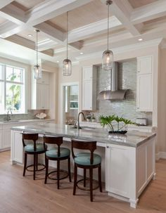 Transitional White and Turquoise Kitchen. AlliKristé Custom Cabinetry and Kitchen Design.