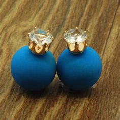 ec82fd321ac76 ne466 New Fashion jewelry double side crystal 16MM pearl Frosted matte stud  earring gift for women