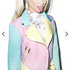 Pastel Moto jacket, brand new Never worn pastel Moto jacket in perfect condition from Dollskill, unif for exposure UNIF Jackets & Coats
